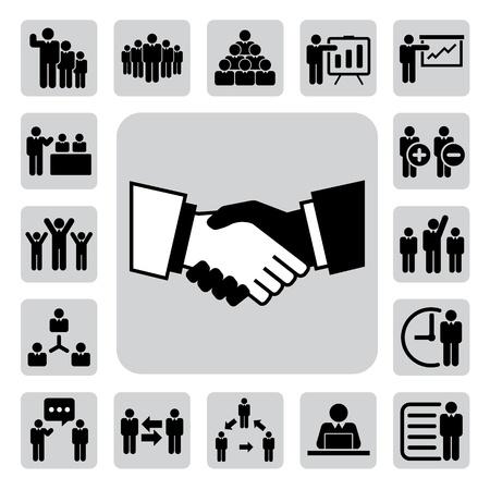mani che si stringono: Icone dell'ufficio e di affari impostate.