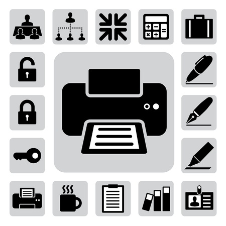 printer: Business and office icons set.