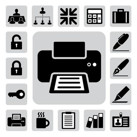 impresora: Iconos de negocios y oficina establecida. Vectores
