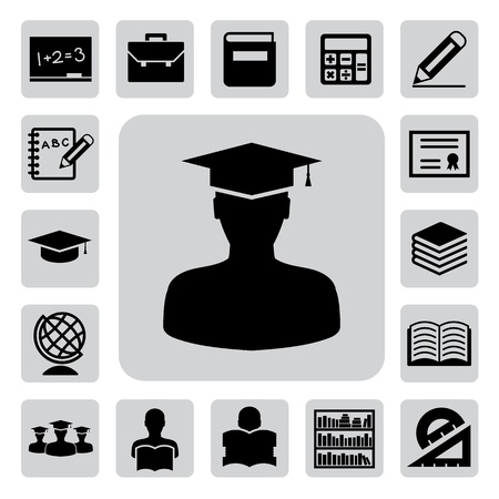 reads: Education icons set. Illustration