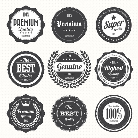 badge ribbon: Set of  retro vintage badges and labels.