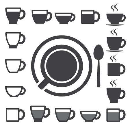 Coffee cup and Tea cup icon set.Illustration  Vector