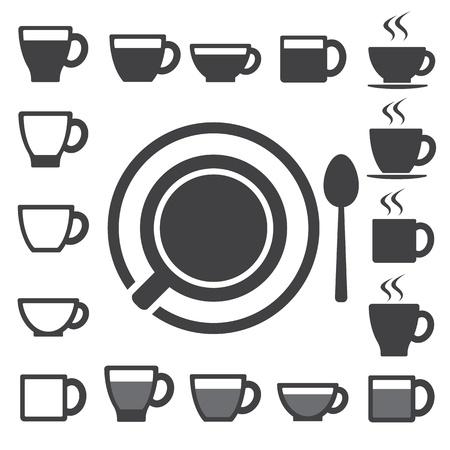 tazza di th�: Tazza di caff� e t� tazza icona Set.illustration Vettoriali
