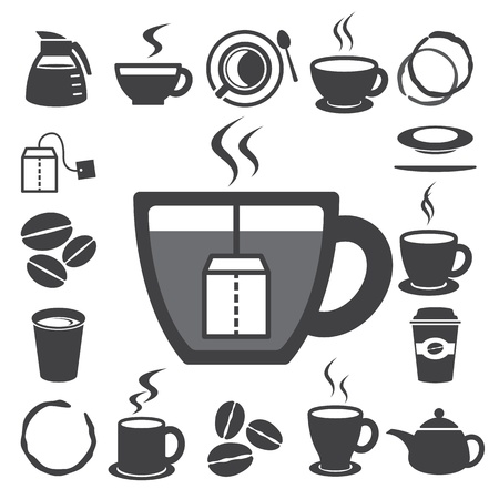 Coffee cup and Tea cup icon set Illustration Stock Vector - 18261472