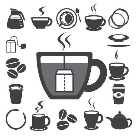 tazza di th�: Tazza di caff� e di t� tazza set di icone Illustrazione