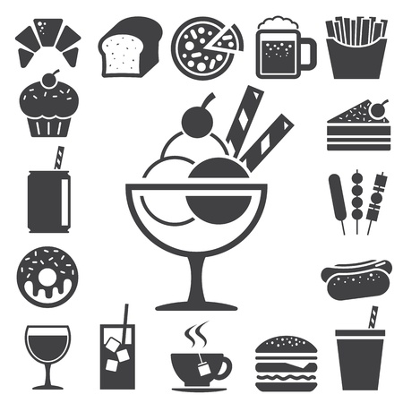 Fast food and dessert icon set Illustration Vector