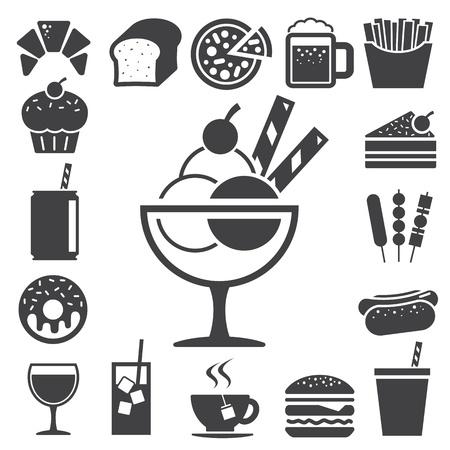 wijn en spijzen: Fast food en dessert icon set Illustratie