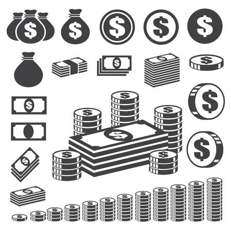 Dinero y conjunto de iconos de la moneda. Ilustración de vector