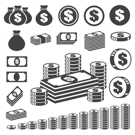 Money and coin icon set. Vector