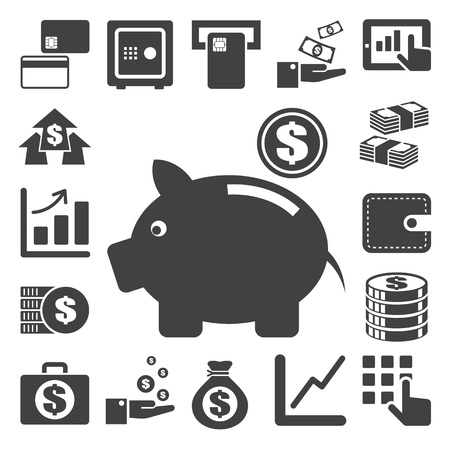money bag: Finanza e soldi icon set. Vettoriali
