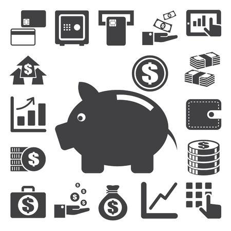 Finanzas y conjunto de iconos dinero.