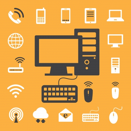 Mobile devices , computer and network connections icons set  Illustration eps 10 Vector