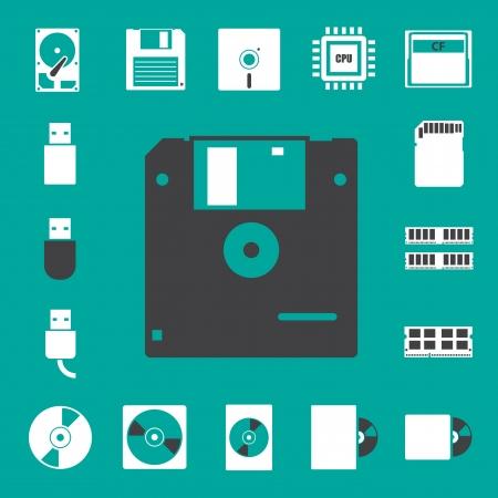 cf: Computer e stoccaggio icone set eps 10 Vettoriali