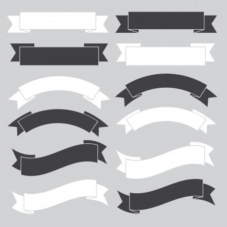 black banner: Old ribbon banner ,black and white Illustration eps10