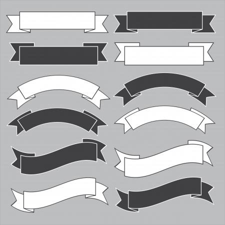 Old ribbon banner ,black and white.Illustration eps10
