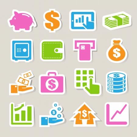 atm card: Finanzas y dinero pegatina Ilustraci�n conjunto de iconos Vectores