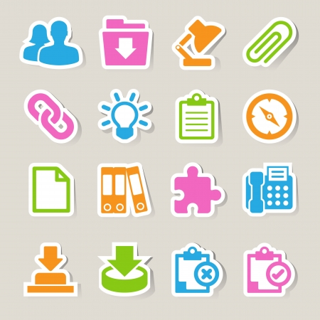 Office sticker icons set  Illustration Vector