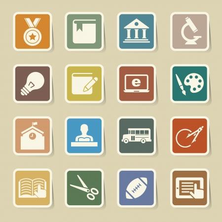 study icon: Iconos de la educaci�n establecidos. Ilustraci�n