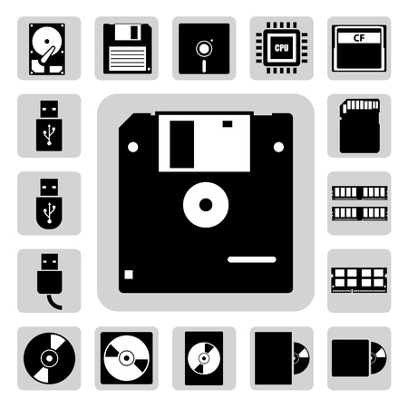 sd: Computer and storage icons set  Illustration