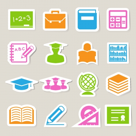 Education sticker icons set. Illustration  Vector
