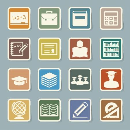 Education sticker icons set. Illustration Vector
