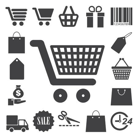 hand bag: Iconos de Compras ajustado. Ilustraci�n