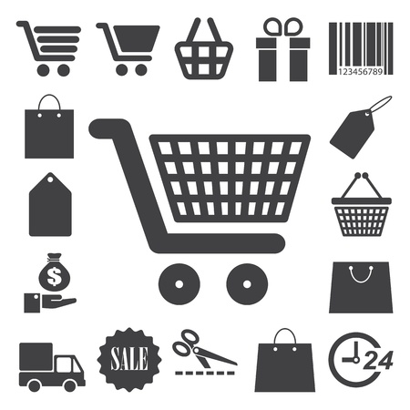 hand baskets: Shopping icons set. Illustration