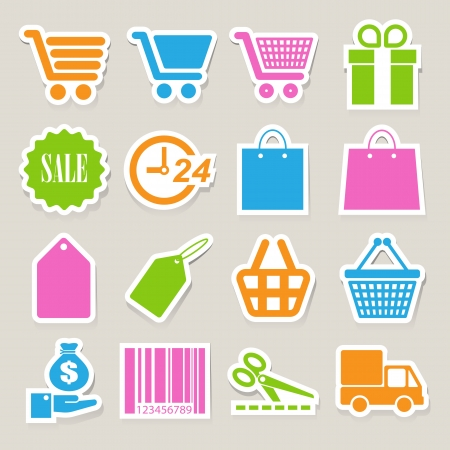 Shopping sticker icons set. Illustration Stock Vector - 18818368