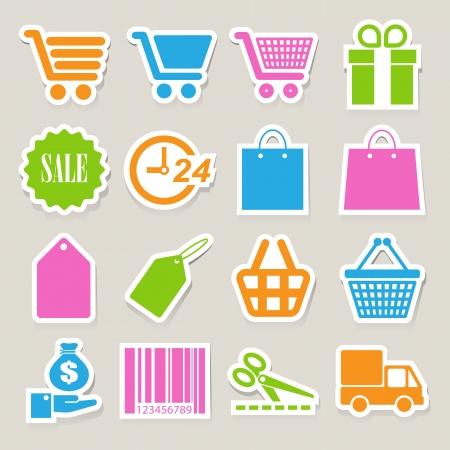wright: Shopping sticker icons set. Illustration