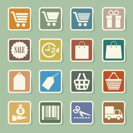 wright: Shopping sticker icons set. Illustration eps 10