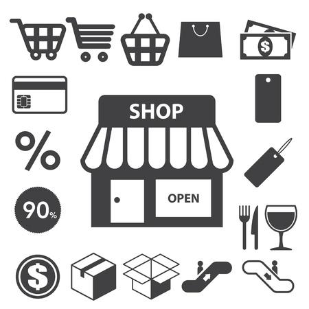 tiendas de comida: Iconos de Compras ajustado. Ilustraci�n