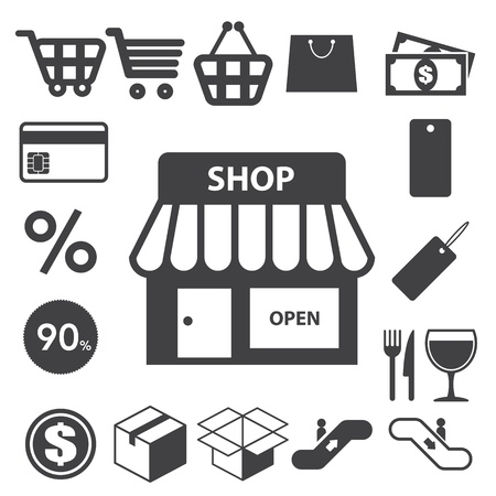 shopping trolley: Shopping icons set. Illustration
