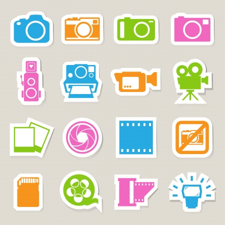 kamera film: Kamera und Video-Aufkleber Icons Set, Illustration