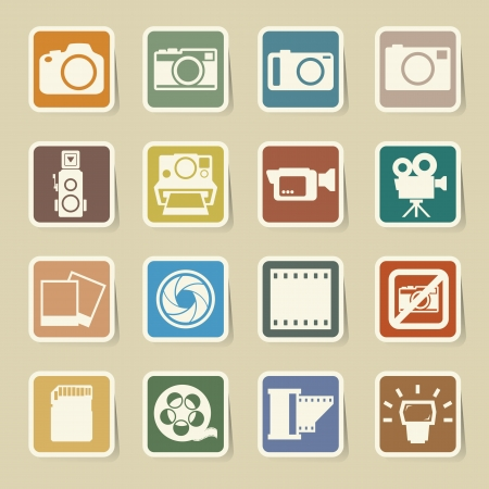 dslr camera: C�mara y v�deo sticker icons set, ilustraci�n