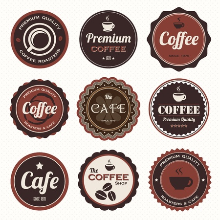 price sticker: Set of vintage coffee badges and labels.