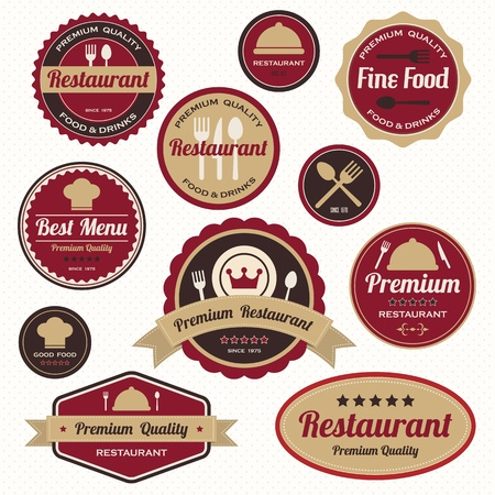 Set of vintage retro restaurant badges and labels Stock Vector - 19080303