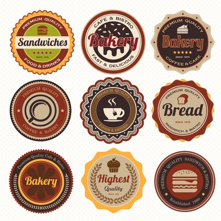bakery products: Set of vintage coffee and bakery badges and labels  Illustration