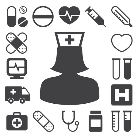krankenschwester spritze: Medical Icons Set, Illustration Illustration