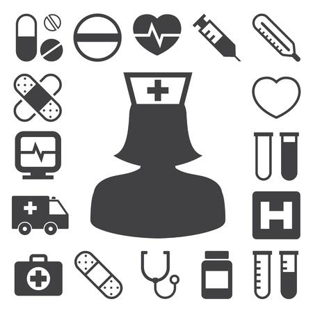 droga: Medico set di icone, illustrazione
