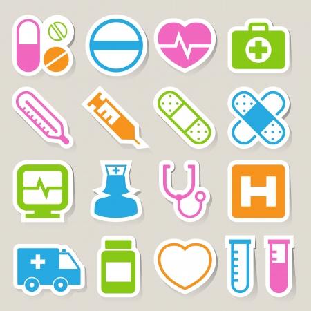 injectie: Medische sticker pictogrammen set, Illustratie Stock Illustratie