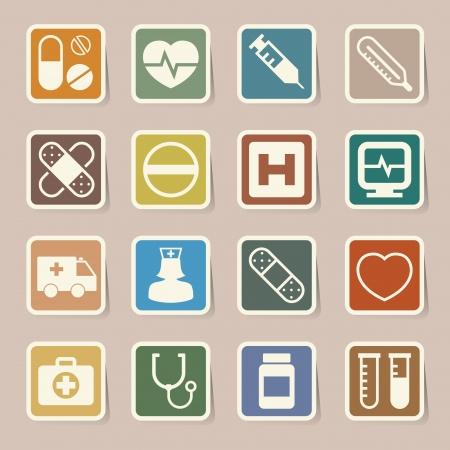 Medical sticker icons set,   Illustration Stock Vector - 19113086