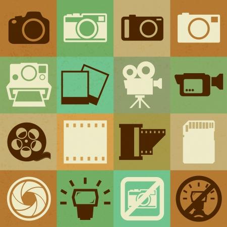 Appareil photo et vidéo rétro icônes, Illustration eps10 Vecteurs