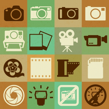 Camera and Video retro icons set ,Illustration eps10  Vector