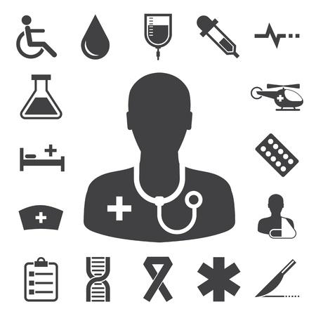 iconos medicos: Iconos m�dicos fijados,. Ilustraci�n Vectores
