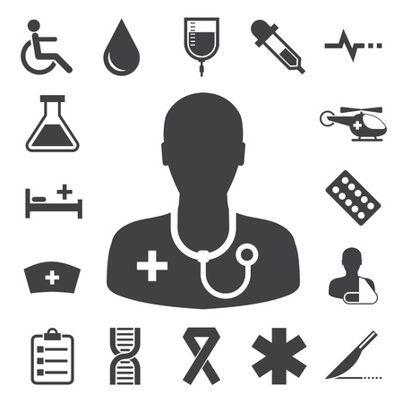 patient in hospital: Medical icons set, . Illustration Illustration