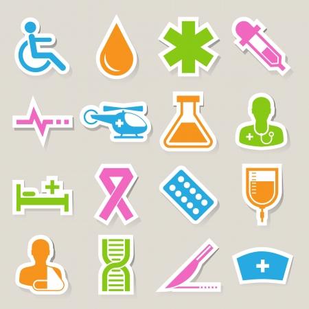 patient in bed: Iconos etiqueta m�dicos fijados