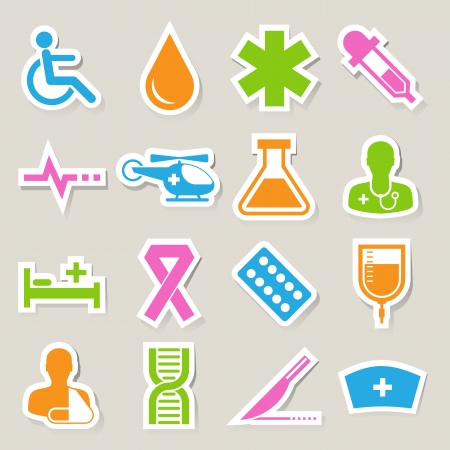 patient bed: Medical sticker icons set