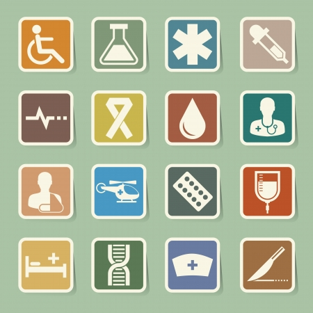 Medical sticker icons set Vector