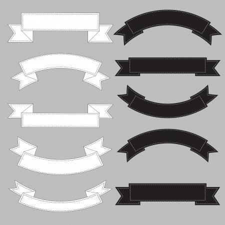 Old ribbon banner ,black and white.Illustration  Vector