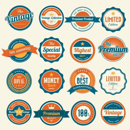 badge ribbon: Set of  retro vintage badges and labels.eps10